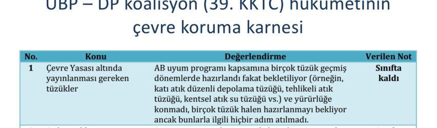 UBP – DP koalisyon (39. KKTC) hükümetinin çevre koruma karnesini açıklıyoruz